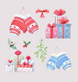 watercolor christmas winter set vector image