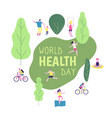 world health day concept healthy lifestyle man vector image vector image