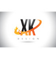 xk x k letter logo with fire flames design and vector image vector image