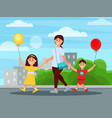 young mother walking in park with her children vector image