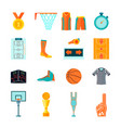 flat basketball icons ball hoop fan equipment vector image
