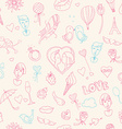 Valentines Day seamless pattern Sketch style vector image
