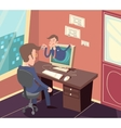 Vintage Retro Businessman Agent Online Visit to vector image