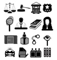 Law court icons set