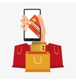 hand holds smartphone shopping online card bank vector image