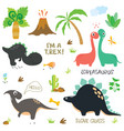 adorable dinosaurs isolated on white background vector image vector image
