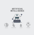 ai smart robot with technology icons vector image vector image