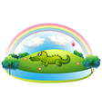 An alligator at the hill with a rainbow vector image vector image