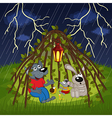 animals hide from storm vector image