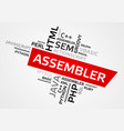 assembler word cloud tag cloud graphics vector image vector image