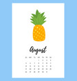 august 2018 year calendar page vector image vector image