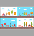 autumn park fall season scenery and walking people vector image vector image