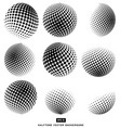 black and white halftone circle set isolated vector image
