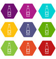 bottle icons set 9 vector image vector image