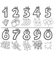 cartoon numbers collection coloring book vector image vector image