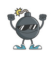 cheering bomb character with sunglasses vector image