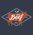 cow bull beef vintage lettering retro print vector image vector image