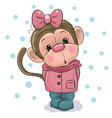 cute monkey girl on a white background vector image
