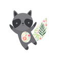 cute raccoon with tummy and tail made floral vector image vector image