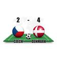 czech vs denmark soccer ball with national flag vector image