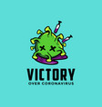 dead coronavirus logo victory over coronavirus vector image
