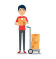 delivery worker with cart boxes vector image vector image
