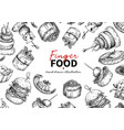 finger food frame drawing catering service vector image vector image