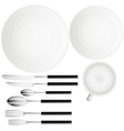 Forks spoon knives plates cup Serving set vector image