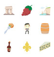french food icons set cartoon style vector image