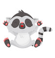 funny laughing lemur with paws up cartoon vector image