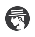 gentleman in retro hat simple silhouette vector image