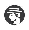 gentleman in retro hat simple silhouette vector image vector image