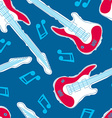 Guitar music seamless pattern with blue background vector image vector image