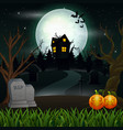 halloween background with scary house in the full vector image