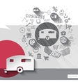 Hand drawn camper icons with icons background vector image