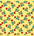 hand drawn flowers roses leaves seamless pattern vector image vector image