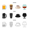 isolated object of drink and bar sign set of vector image vector image