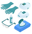 isometric set disposable protection against vector image