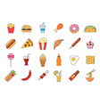 Junk food icons set vector image vector image