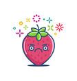 kawaii grumpy strawberry emoticon cartoon vector image vector image