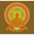 Man sitting in meditation pose on mandala vector image vector image
