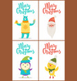 merry christmas collection bear santa bird chicken vector image vector image