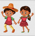 mexican boy and girl in costume vector image vector image