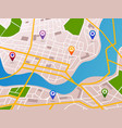 navigation maps with gps pins icons vector image vector image