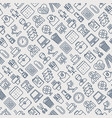 office seamless pattern with thin line icons vector image