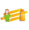 orange sun cream tube concept banner cartoon vector image vector image