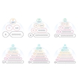 Outline pyramids with 3 - 8 steps levels vector image vector image