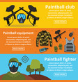 paintball club banner horizontal set flat style vector image vector image