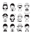 People Occupations Icons Set Monochrome vector image vector image