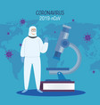 person using biohazard suit protection vector image vector image